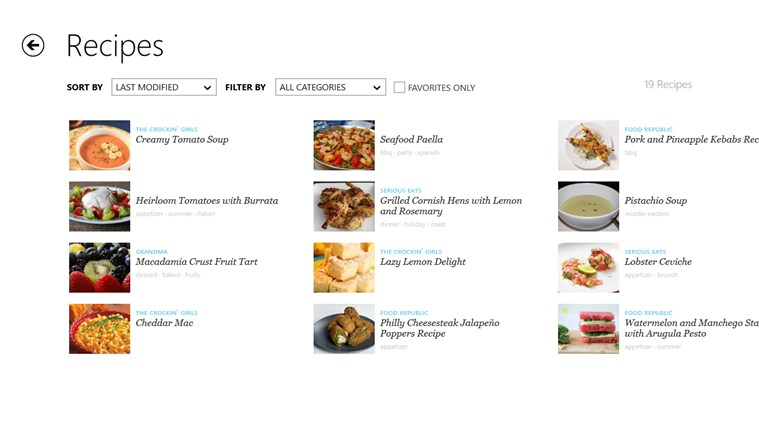 Recipe, Menu & Cooking Planner screen shot 1