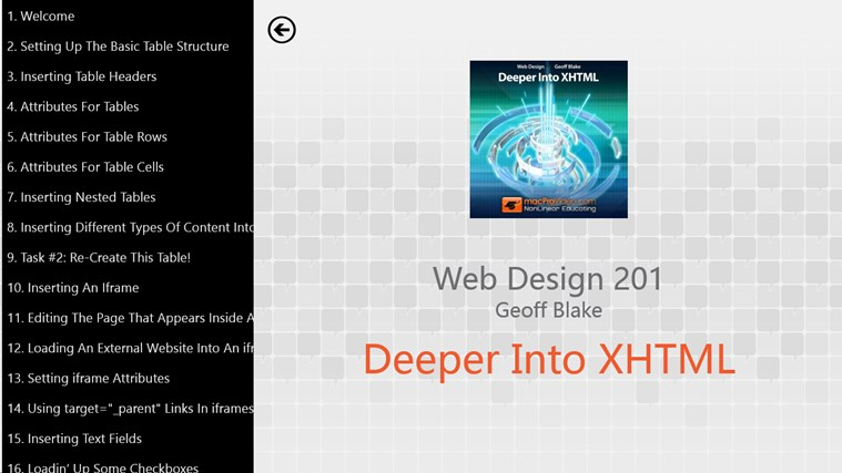 Web Design: Deeper Into XHTML screen shot 1
