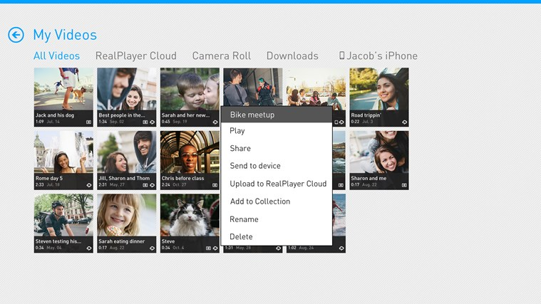 RealPlayer Cloud screen shot 3