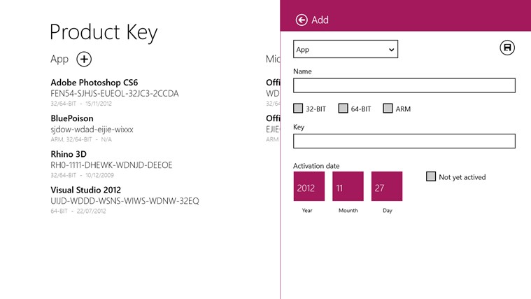 Product Keys screen shot 3