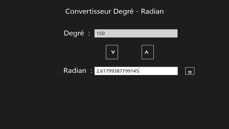 Convertisseur Degré / Radian screen shot 1