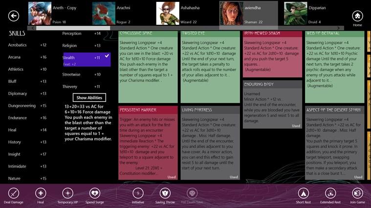 Character Compendium screen shot 3