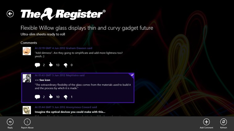 The Register screen shot 3