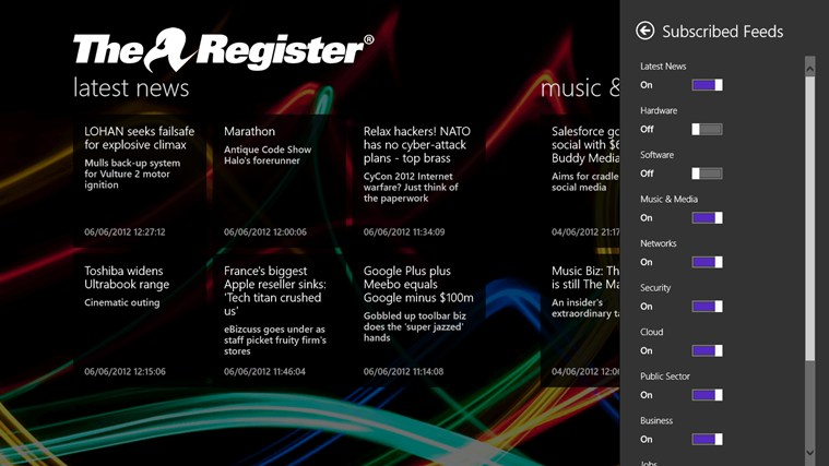 The Register screen shot 5