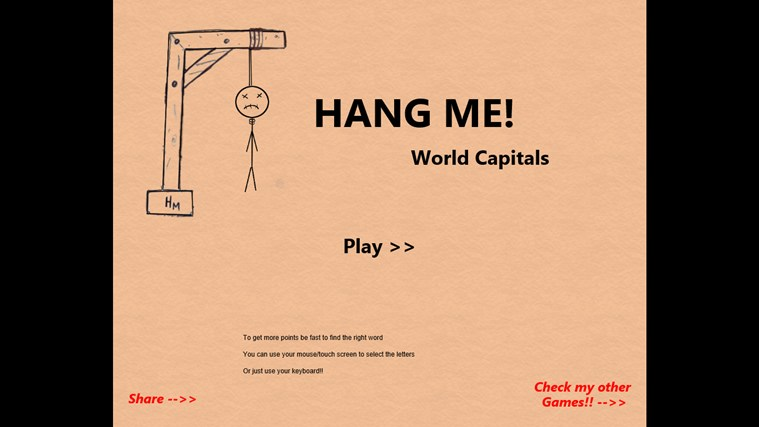 Hang Me World Capitals screen shot 1