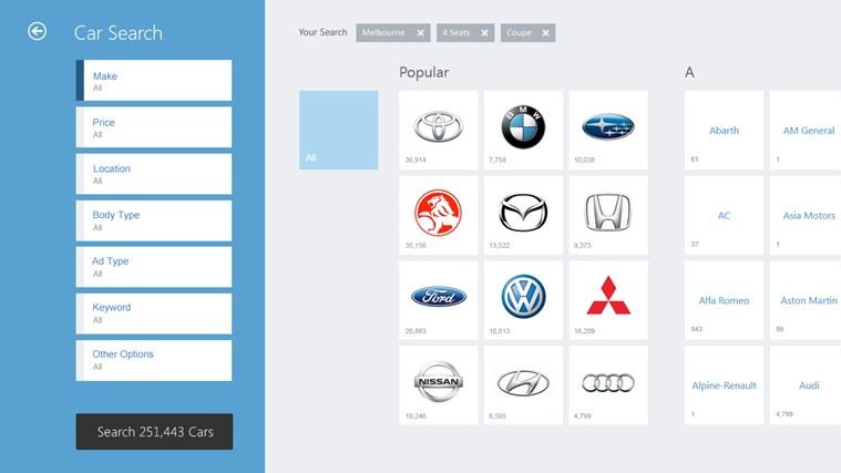 Carsales screen shot 1