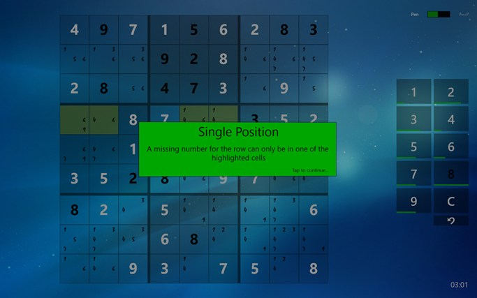 Sudoku Touch screen shot 3