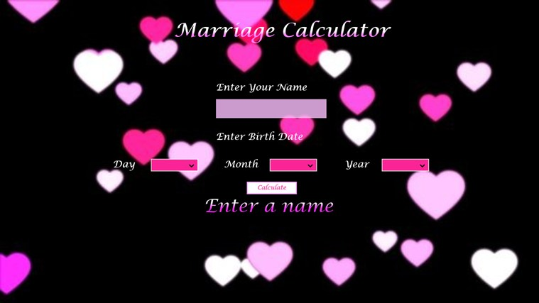 The Marriage Calculator screen shot 1
