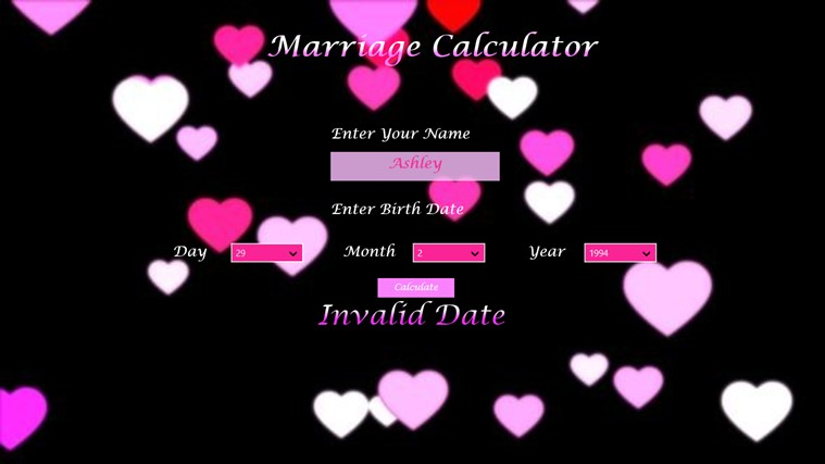 The Marriage Calculator screen shot 3