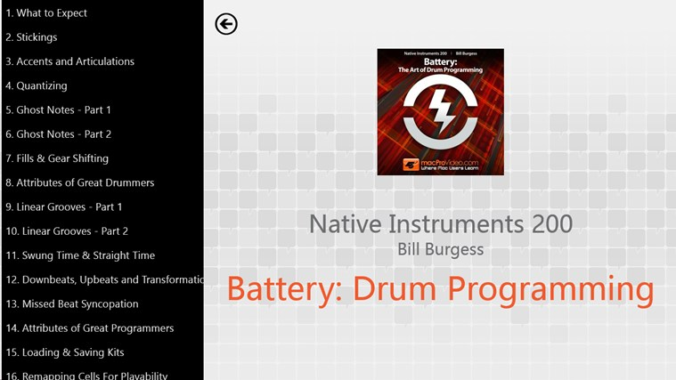 Native Instruments 200 - Battery: Drum Programming screen shot 1