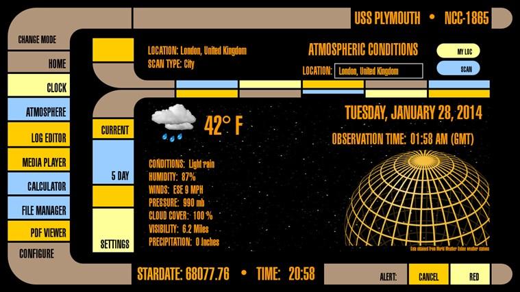 LCARS Interface screen shot 7