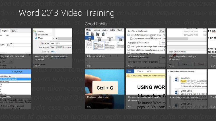 Video Training for Word ® 2013 screen shot 1