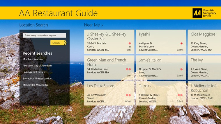 AA Restaurant Guide screen shot 1