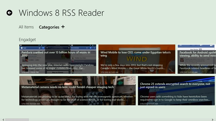 Windows 8 RSS Reader screen shot 1