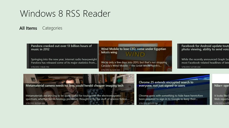 Windows 8 RSS Reader screen shot 3