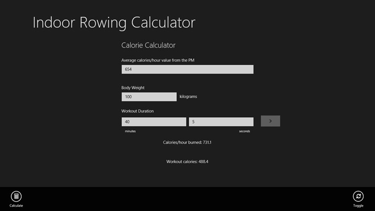 Indoor Rowing Calculator screen shot 1