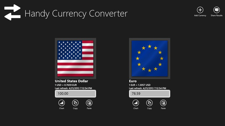 Handy Currency Converter screen shot 1