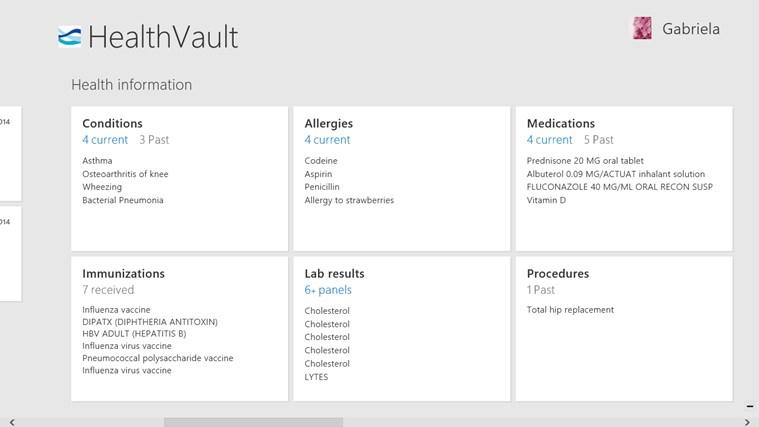 HealthVault screen shot 1