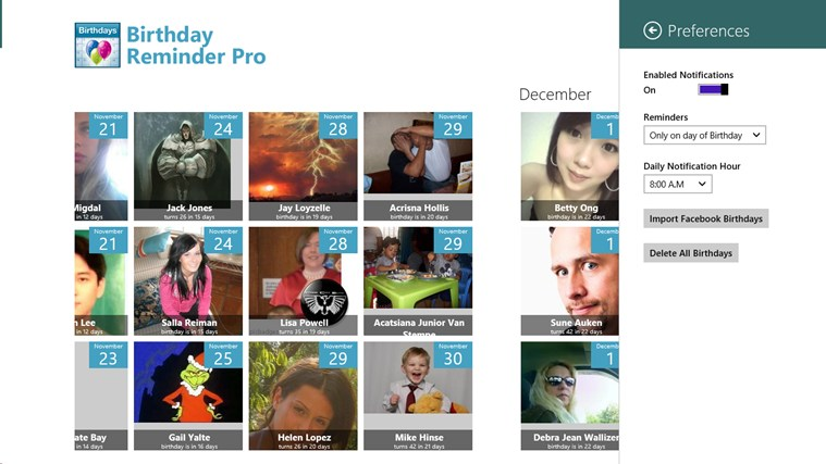 Birthday Reminder Pro screen shot 1