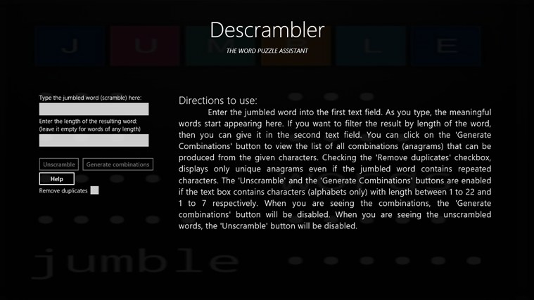 Descrambler - The Jumbled Word Unscrambler screen shot 5