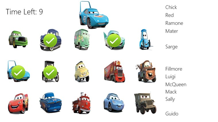 Cars movie characters names