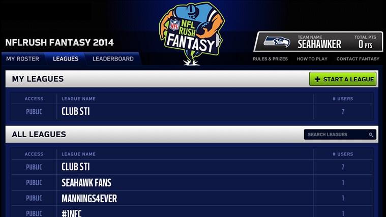NFLRUSH Fantasy Football screen shot 1
