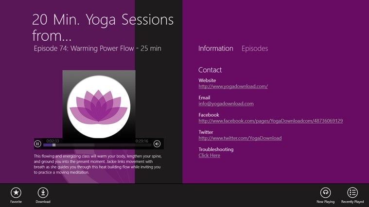 20 Min. Yoga Sessions from YogaDownload.com screen shot 1