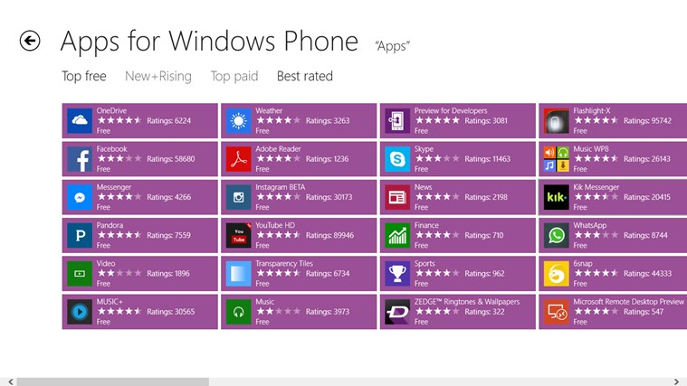 Apps for Windows Phone screen shot 5
