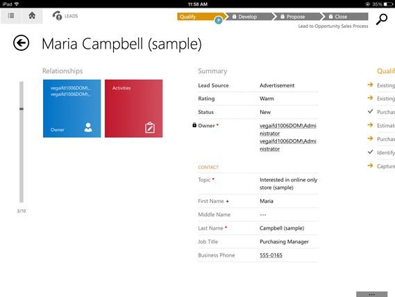 Microsoft Dynamics CRM screen shot 1