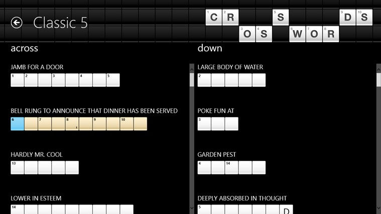 Crosswords screenshot 1