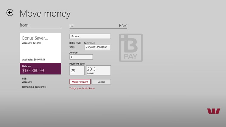 Westpac Banking for Windows 8 screen shot 5
