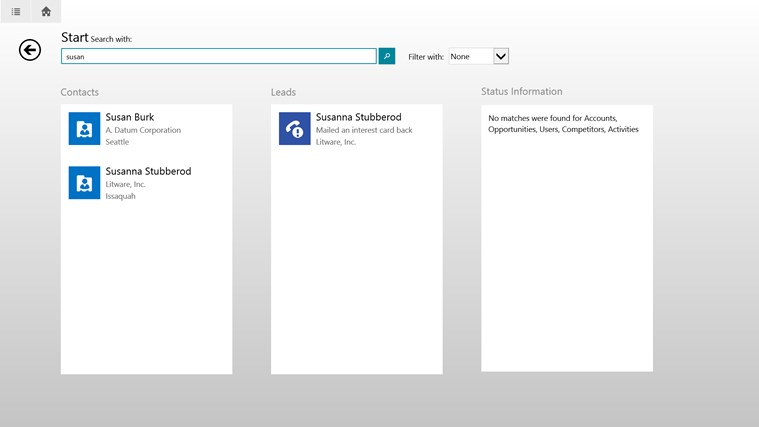 Microsoft Dynamics CRM for Windows 8 screen shot 3