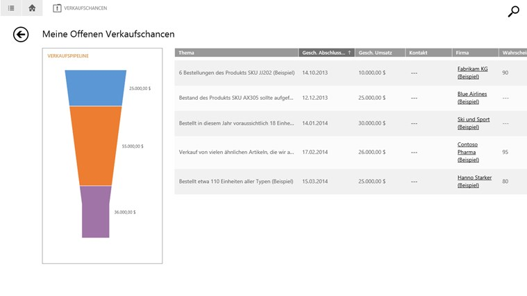 Microsoft Dynamics CRM für Windows 8 Screenshot 1