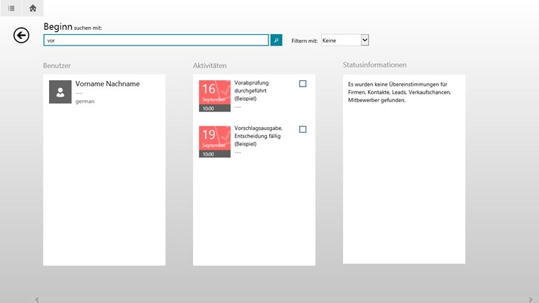 Microsoft Dynamics CRM für Windows 8 Screenshot 3