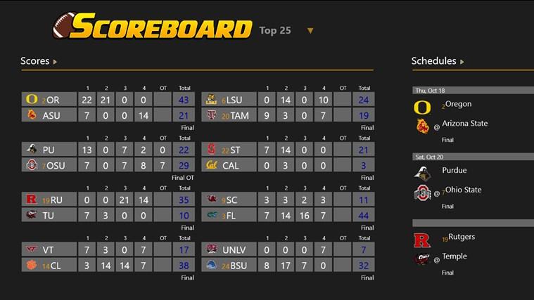 College Football Scoreboard screen shot 1
