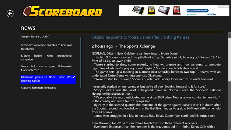 College Football Scoreboard screen shot 3