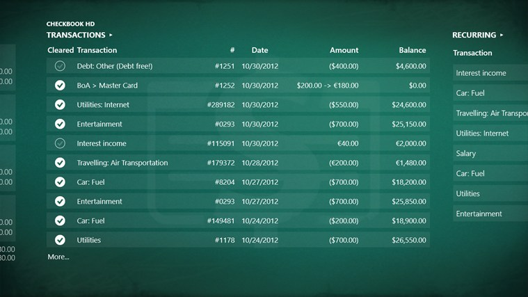 Checkbook HD screen shot 1