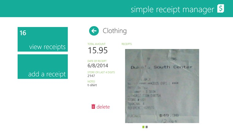 Receipt Manager screen shot 1