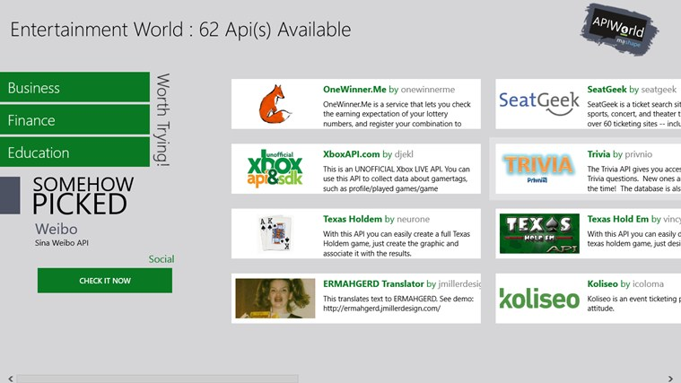 Api World screen shot 1