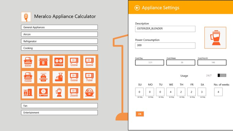 Meralco Appliance Calculator screen shot 1
