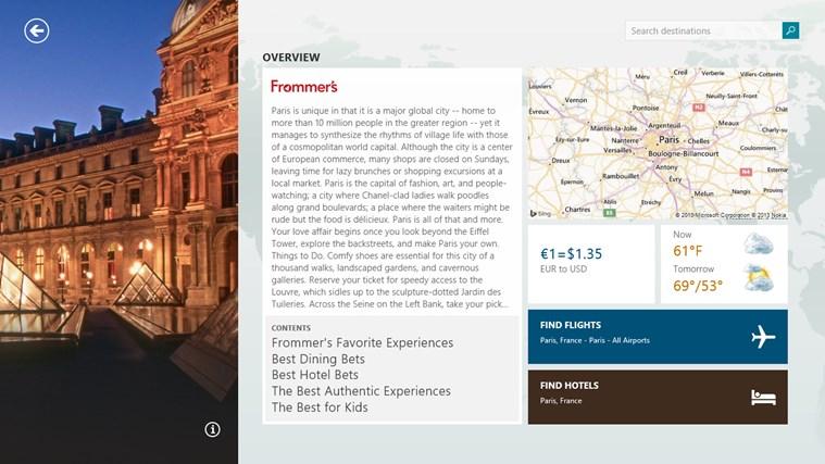 Bing Travel screen shot 1