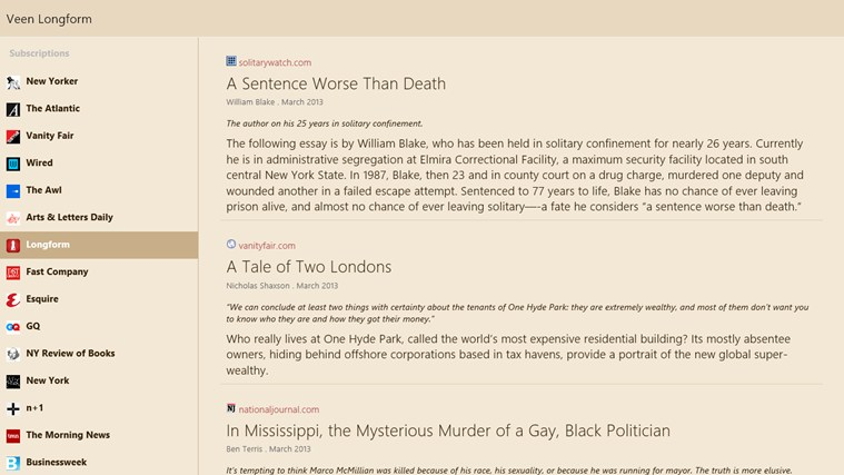 Veen Longform screen shot 3