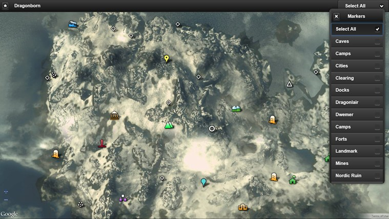 Skyrim map app for windows in the windows store