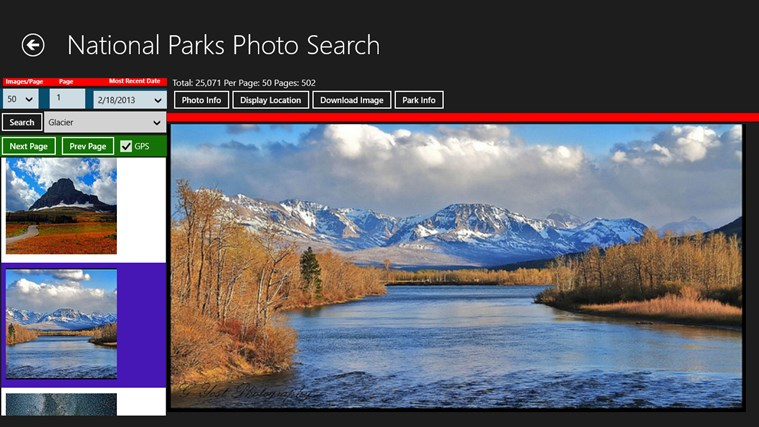 National Parks Photo Search screen shot 1