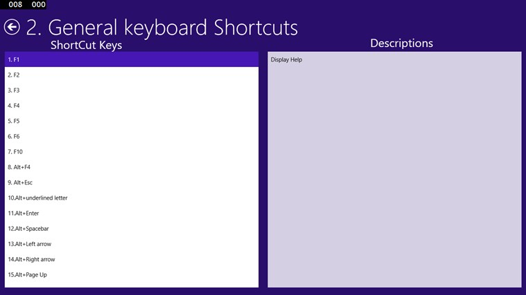 Windows 8.1 Shortcut Keys screen shot 1