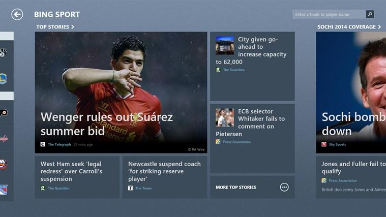 Bing Sport screen shot 1