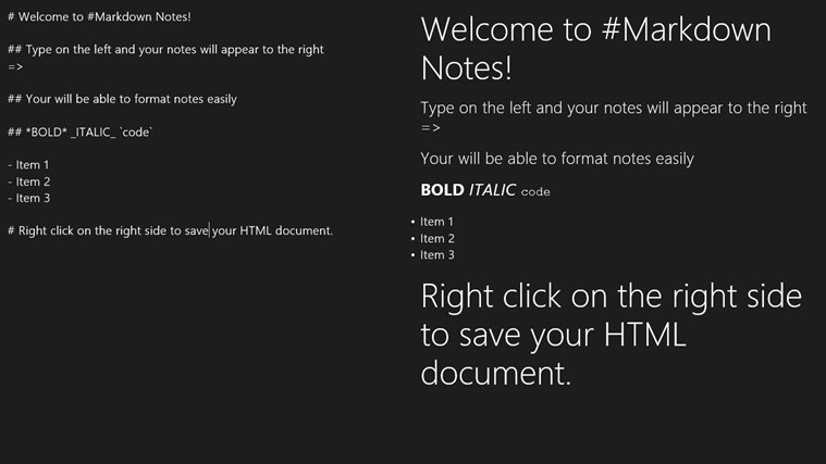 #Markdown Notes screen shot 1