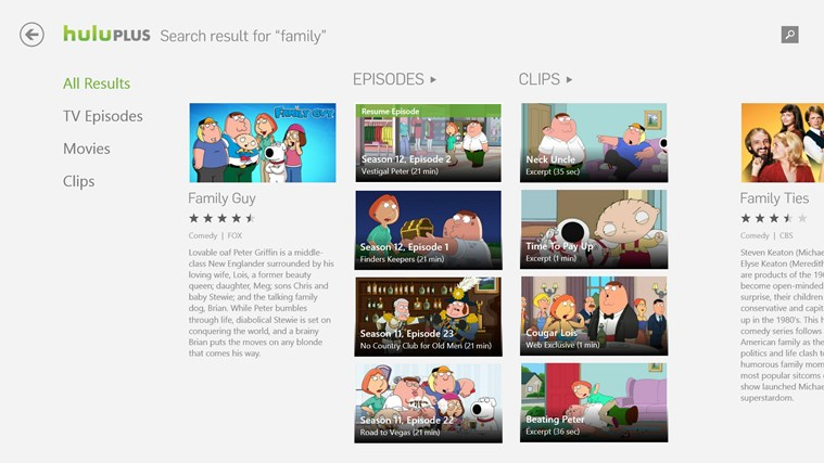 Hulu Plus app for Windows in the Windows Store