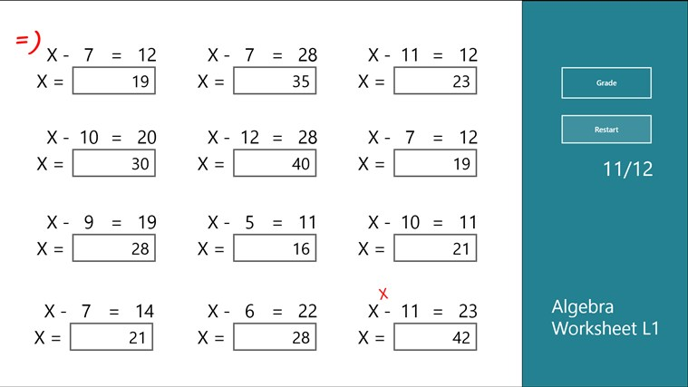 Viewing Infographic of Operator algebras Algebra Worksheet L1 app for Windows in the Windows Store