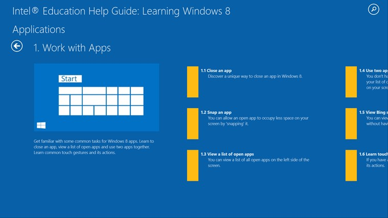 Intel® Education Help Guide: Learning Windows* 8 screen shot 1